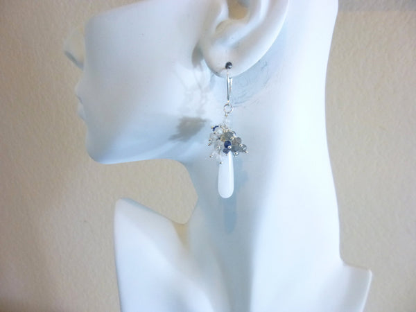 White Briolette Earrings, Bridal Earrings - Earth Energy Gemstones