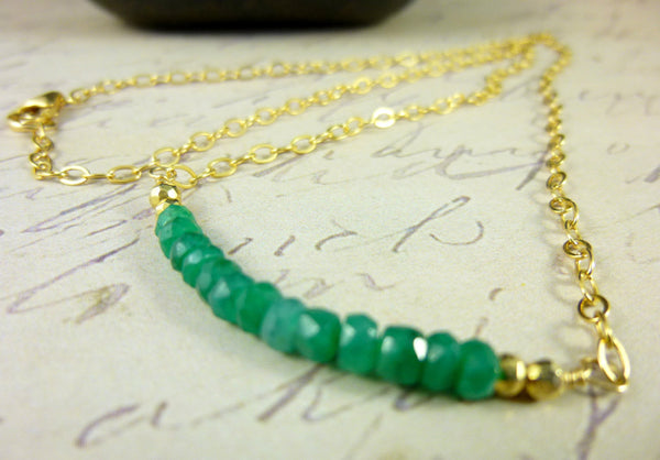Emerald or London Blue Topaz Gemstone Chakra Necklace, Sterling Silver or 14kt Gold Filled