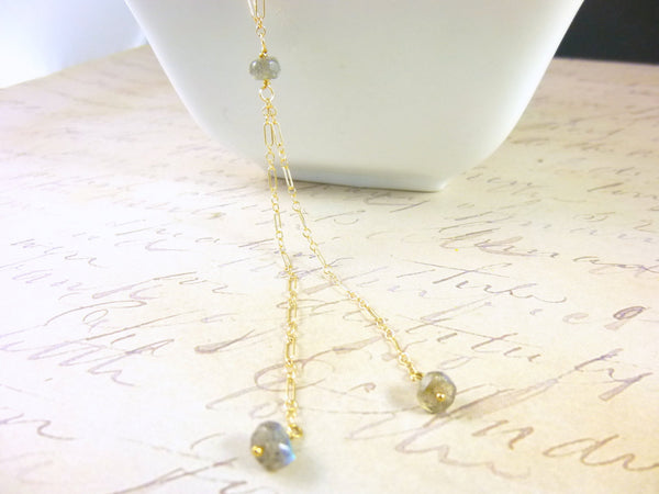 Tiny Gemstones Y Necklace, Layering Necklace, Long Sexy Chakra Necklace - Earth Energy Gemstones