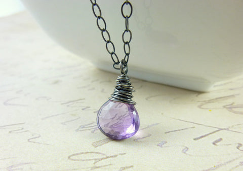 Amethyst Chakra Necklace, Wire Wrapped Gemstone, Sterling Silver