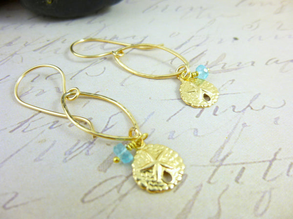 Sand Dollar Earrings, Heart Chakra, Apatite - Earth Energy Gemstones