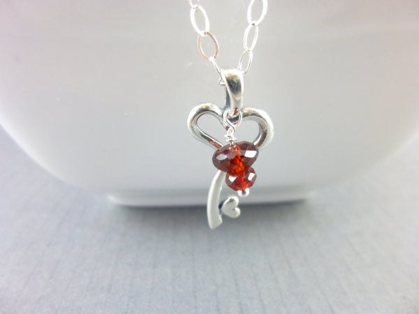 Key Pendant Necklace, Garnet, Sterling Silver - Earth Energy Gemstones