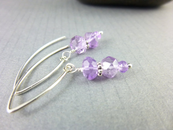 Amethyst Dangles, Crown Chakra Earrings, Sterling Silver