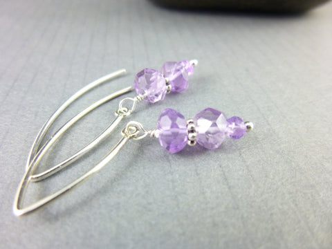 Amethyst Crown Chakra Earrings, Sterling Silver - Earth Energy Gemstones