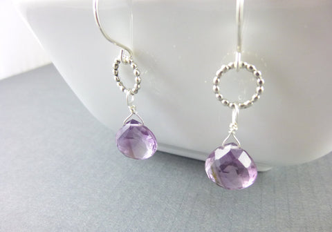 Amethyst & Sterling Silver Crown Chakra Earrings, February Birthstone