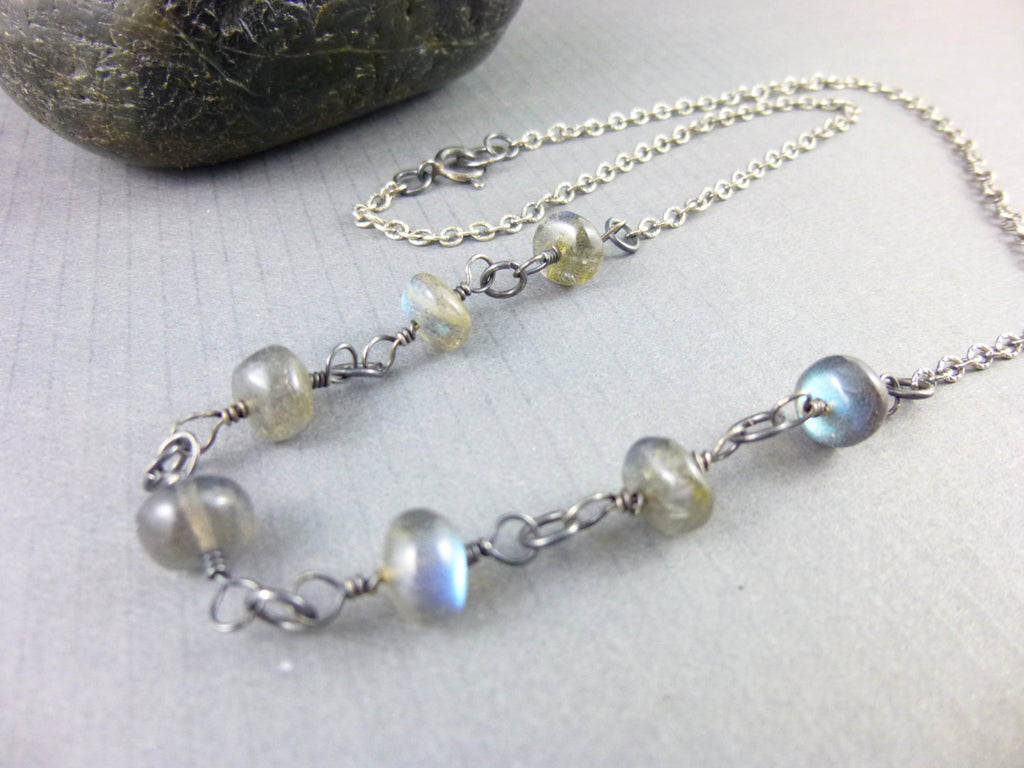 Labradorite Chakra Necklace, Sterling Silver - Earth Energy Gemstones