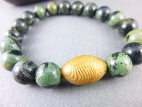 Men's Green Chakra Bracelet, Heart Chakra - Earth Energy Gemstones