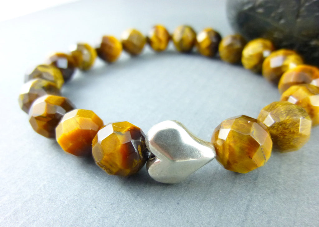 Golden Brown Tiger Eye Chakra Bracelet, Hill Tribe Fine Silver Heart