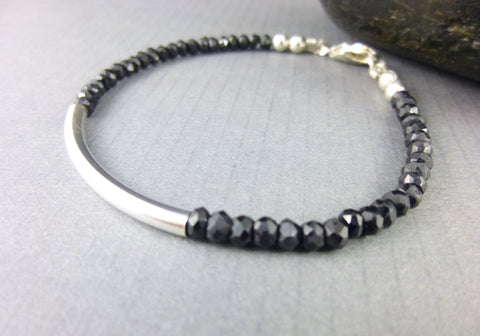 Black Spinel Chakra Bracelet, Sterling Silver, Root Chakra - Earth Energy Gemstones