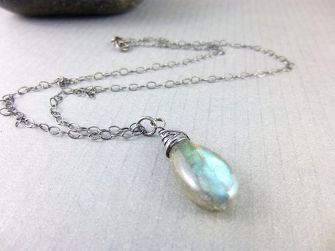 Labradorite Pendant Chakra Necklace, Sterling Silver - Earth Energy Gemstones