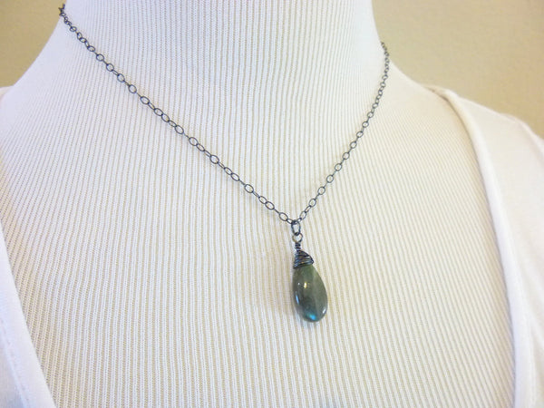 Labradorite Pendant Necklace, Sterling Silver, Brow Chakra