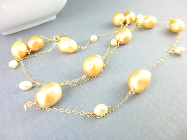 Baroque Freshwater Pearl Necklace, Station Necklace - Earth Energy Gemstones