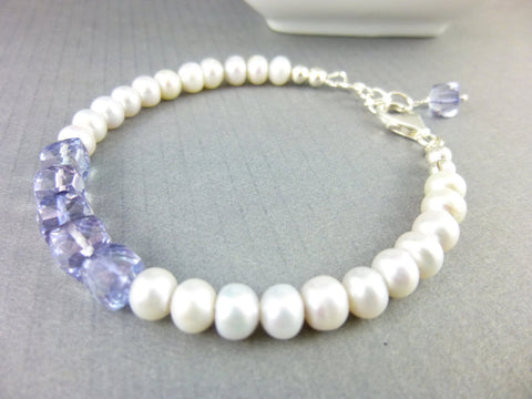 White Pearl Sterling Silver Chakra Bracelet with Tanzanite - Earth Energy Gemstones