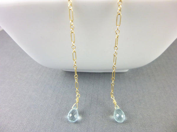 Aquamarine Shoulder Duster Earrings, Throat Chakra - Earth Energy Gemstones