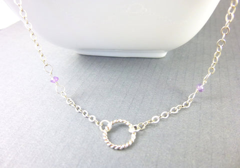 Amethyst Chakra Necklace, Minimalist Necklace,Sterling Silver, Third Eye & Crown Chakras - Earth Energy Gemstones