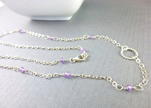 Minimalist Chakra Necklace, Amethyst & Sterling Silver, Third Eye & Crown Chakras