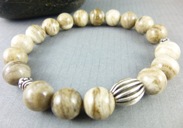 Men's Jasper Chakra Bracelet, Silver Leaf Jasper - Earth Energy Gemstones