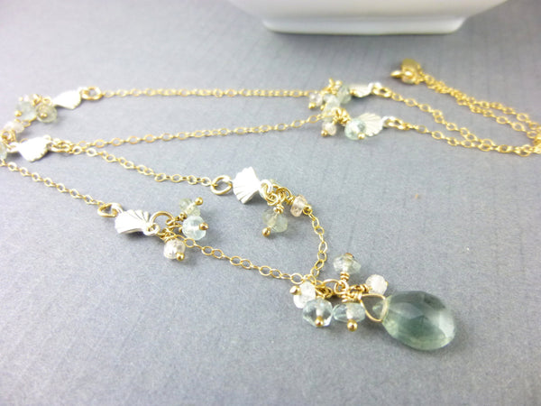 Moss Aquamarine Necklace, Art Deco Style - Earth Energy Gemstones