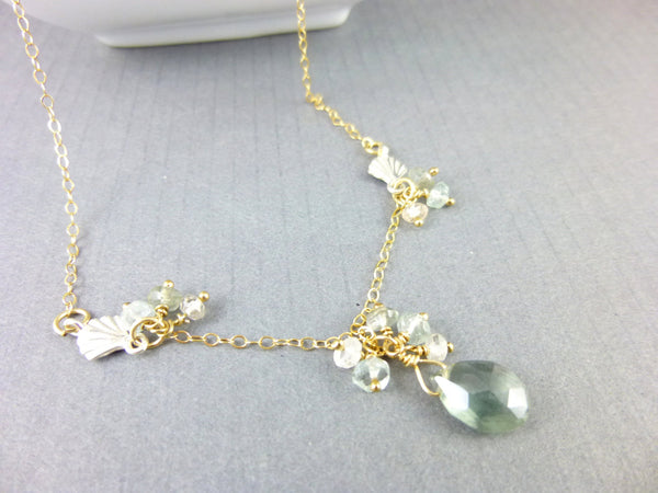 Moss Aquamarine & Spinel Art Deco Style Chakra Necklace