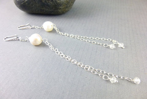 Shoulder Duster Pearl Earrings, Freshwater Pearls, Chakra Earrings - Earth Energy Gemstones