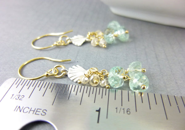 Moss Aquamarine & Spinel Art Deco Style Chakra Earrings, Mixed Metals