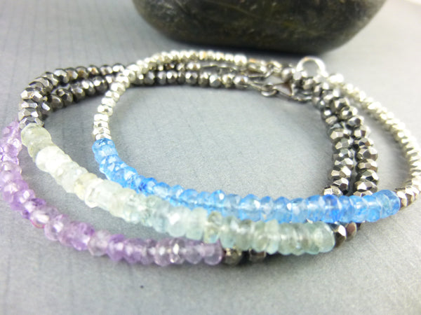 Moss Aquamarine Chakra Bracelet, Throat Chakra - Earth Energy Gemstones