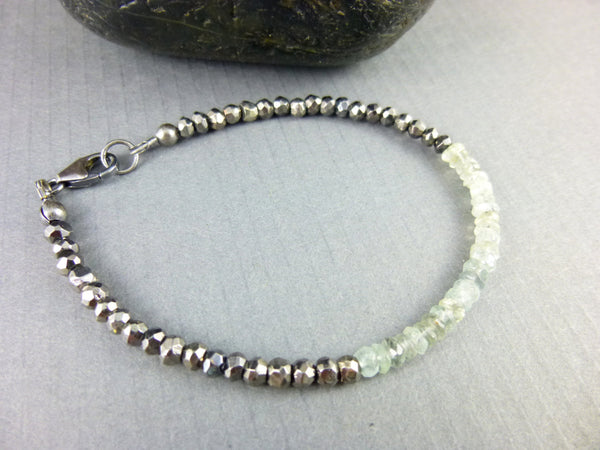 Moss Aquamarine Throat Chakra Bracelet, March Birthstone, Sterling Silver