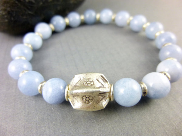 Aquamarine Stretch Chakra Bracelet, March Birthstone, Hill Tribe Fine Silver