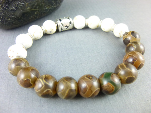 Men's Agate Chakra Bracelet, Sterling Silver - Earth Energy Gemstones