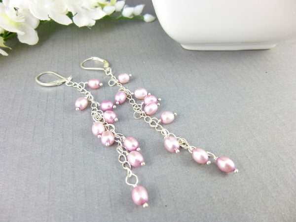 Long Pink Pearl Dangles Shoulder Dusters Chakra Earrings - Earth Energy Gemstones