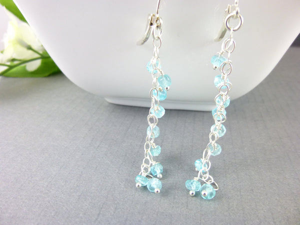 Aqua Shoulder Duster Heart Chakra Earrings, Apatite & Sterling Silver - Earth Energy Gemstones