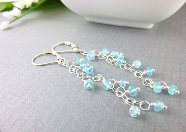 Aqua Shoulder Duster Heart Chakra Earrings, Apatite & Sterling Silver