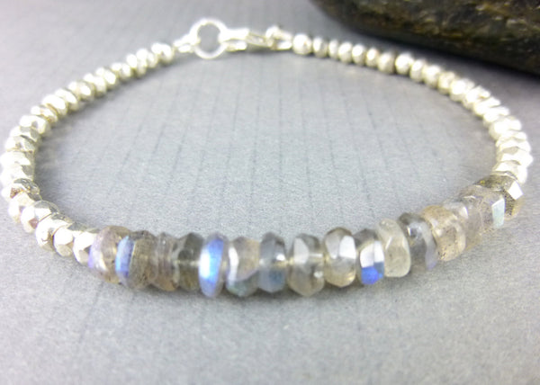 Labradorite Chakra Bracelet, Sterling Silver - Earth Energy Gemstones