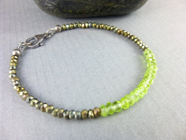 Peridot Heart Chakra Bracelet, August Birthstone - Earth Energy Gemstones