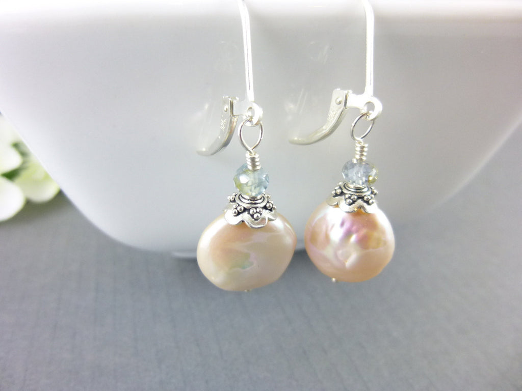Pink Coin Pearl Earrings, Sapphires, Sterling Silver - Earth Energy Gemstones