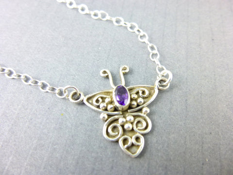 Amethyst Crown Chakra Pendant Necklace, Butterfly Pendant - Earth Energy Gemstones