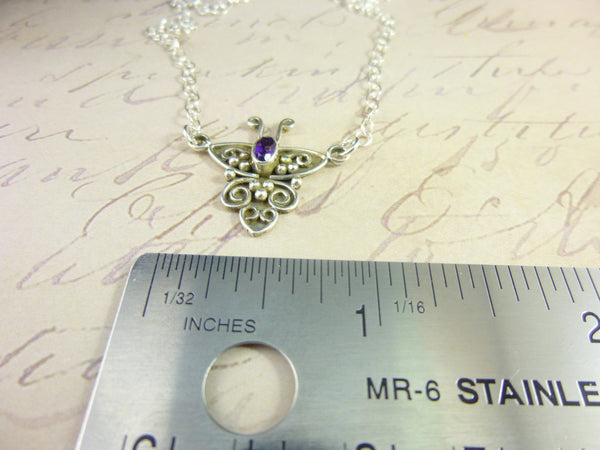 Amethyst Butterfly Necklace, Crown Chakra, Sterling Silver