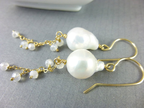 Baroque Freshwater Pearl Bridal Earrings, Third Eye Chakra - Earth Energy Gemstones