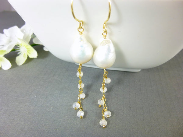 Baroque Pearl & Crystal Quartz Chakra Earrings, Bridal Earrings, 14kt Gold Filled