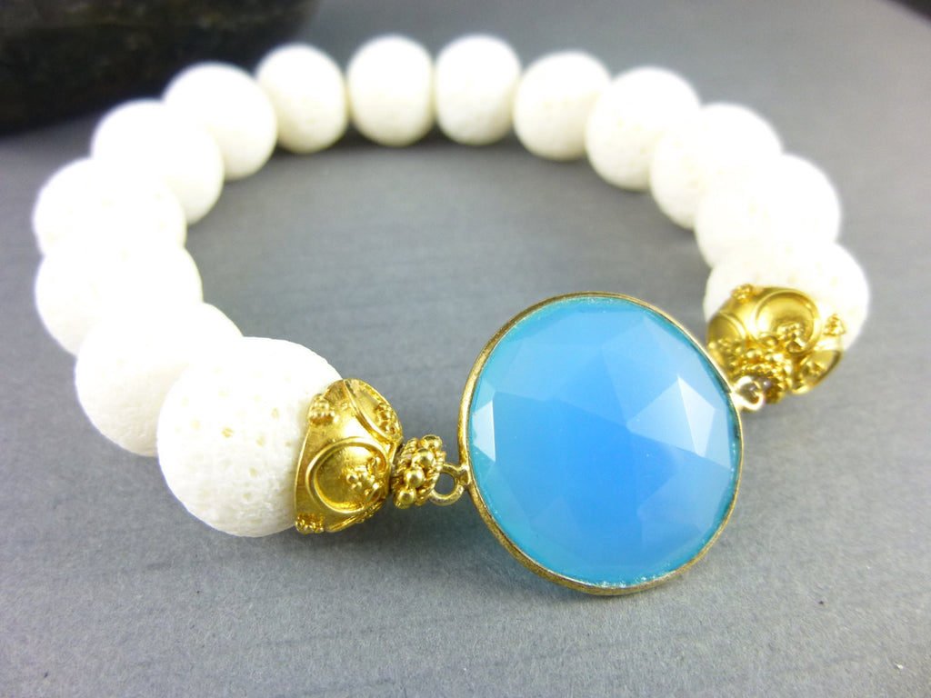 Vintage White Coral & Blue Chalcedony Stretch Bracelet, Gold Vermeil