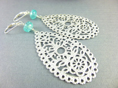Apatite & Silver Filigree Earrings, Lacy Bridal Earrings, Something Blue