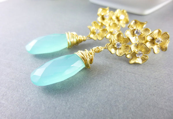 Aqua Chalcedony Chakra Earrings, Gold Filled - Earth Energy Gemstones