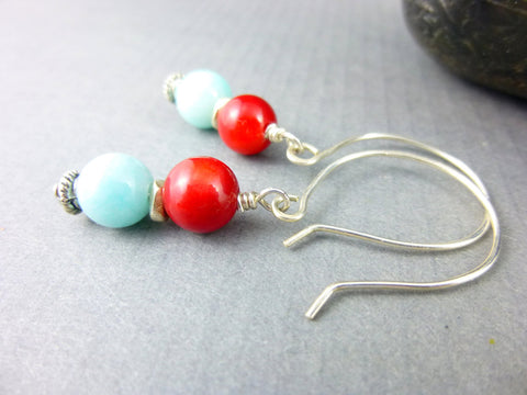 Amazonite & Coral Root Chakra Earrings, Sterling Silver, Southwestern Style