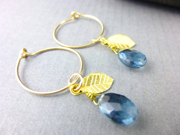 Blue Quartz Chakra Hoop Earrings, 14K Gold Fill - Earth Energy Gemstones