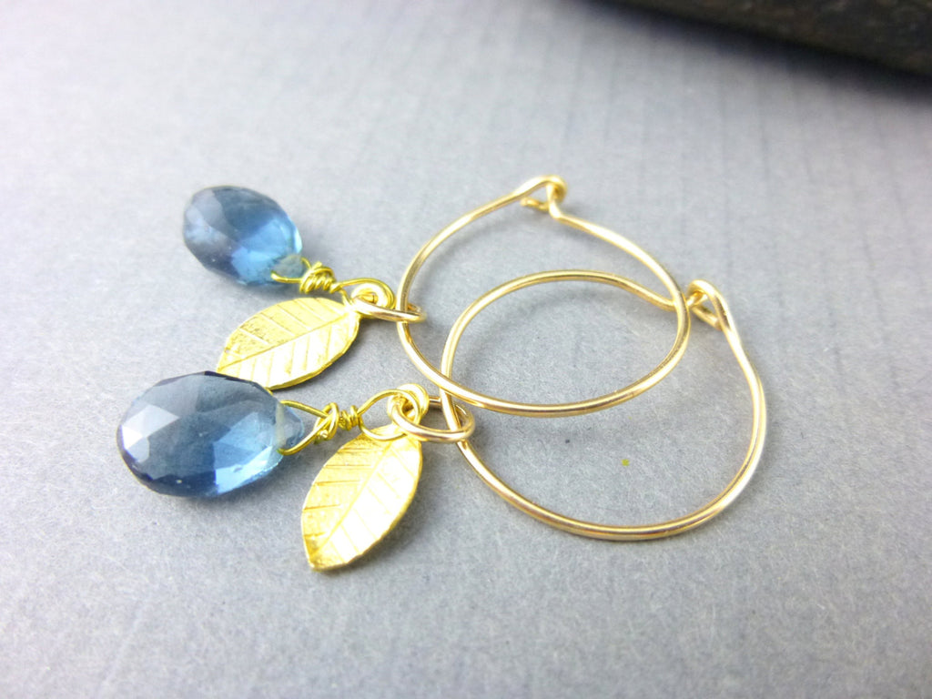Blue Quartz Chakra Earrings, 14kt Gold-Fill Wire Hoops