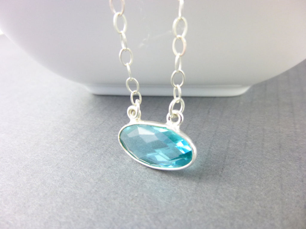 Swiss Blue Topaz Pendant Necklace, Chakra Jewelry