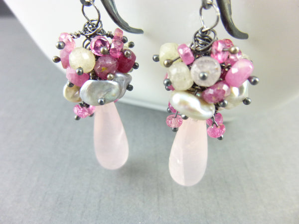 Rose Quartz Heart Chakra Earrings, Cluster Earrings - Earth Energy Gemstones