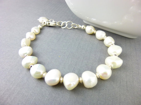 Baroque Pearl Third Eye Chakra Bracelet, Sterling Silver