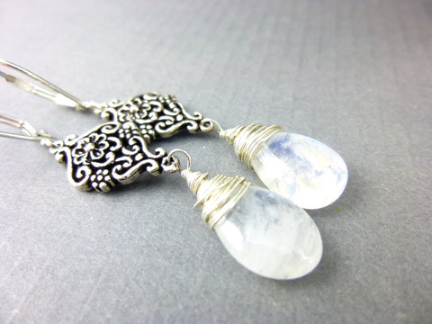 Rainbow Moonstone Bridal Earrings - Earth Energy Gemstones