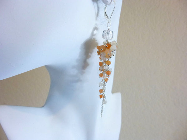 Peach & White Moonstone Cascade Shoulder Dusters, Sterling Silver Chakra Earrings